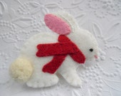 Winter Felt Bunny Brooch Felted Wool Scarf Red Coat Pin Primitive - This item Is On HOLD