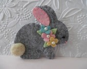 Felt Bunny Brooch Flowers Pin Jewelry Felted Wool Rabbit Needle Felted
