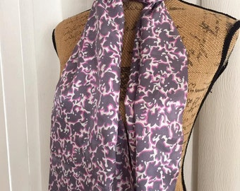 Vintage Pink Elephant Novelty Print Long Scarf for Neck or Hair