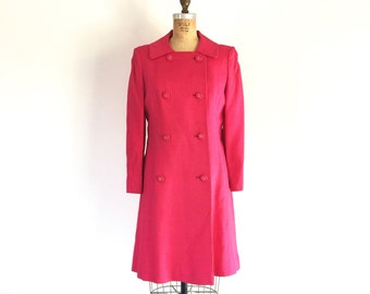 1960s Mod Pink Jacket Double Breasted Peacoat Magenta Vintage Coat M/L