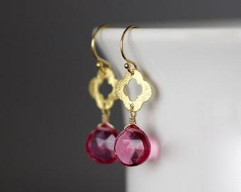 Pink Quartz Earrings - Hot Pink Earrings - Quatrefoil Earrings - Wire Wrapped Earrings Gold - Pink Gemstone Earrings - Gold Dangles - Gift