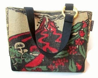 MTO. Custom. Kilauea Volcano Burlap Mini Tote. Repurposed UCC Hawaii Kona Coffee Bag. Handmade in Hawaii.