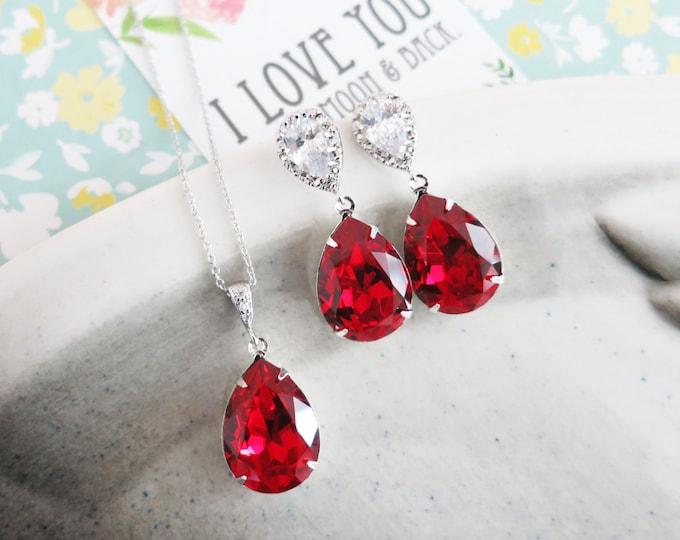 Sandra- Siam Red Swarovski Crystal Teardrop Cubic Zirconia Teardrop Earrings Necklace Set, Bridesmaid Earrings Bridal Jewelry Wedding
