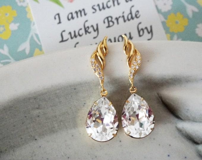 Fina - Gold Cubic Zirconia Swarovski Teardrop Crystal Earrings, Bridesmaid earrings, Bridal Wedding Jewelry, white weddings