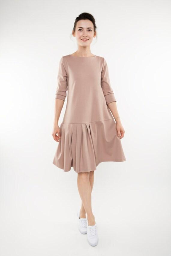 Unique dress | Flared dress | Light pink dress | LeMuse unique dress