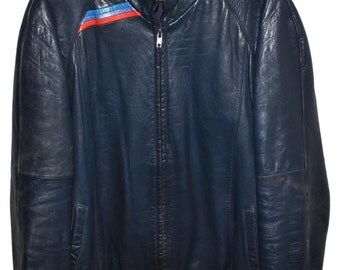 BMW M STYLE 1980s Vintage Midnight Blue Lambskin LEATHER Jacket Mens Large L