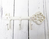 White Key Hooks, Cast Iron Key Hook, Vintage Inspired, Three Hooks, Rustic, Farmhouse, Wall Decor, Metal Hooks, Cottage Decor, Organize