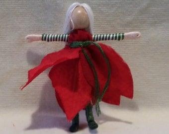 Spearmint Poinsettia  Fairy - Christmas Fairy-  Flower Fairy - Fairy Doll - Waldorf doll, Christmas ornament