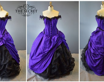 Gothic wedding gown-purple and black gown-halloween wedding-alternative wedding dress-purple and black-the secret boutique-bustle gown-goth