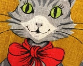 Vintage Parisian Prints Cat with Serving Tray Mint Condition Never Used Tea Towel