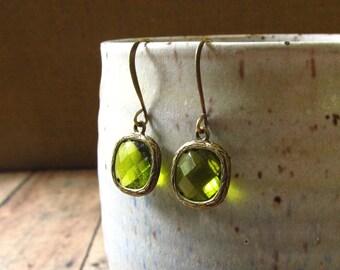 Marcelle Earrings - Vintage Style, Olivine Green in Antique Bronze