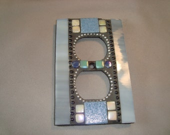 MOSAIC Electrical Outlet Cover,  Plug, Wall Plate, Gray, Blue, White, Aqua, Wall Art
