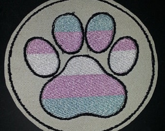 TRANSGENDER PRIDE PAW furry fandom embroidered canvas jacket patch