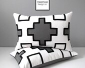 Grey Geometric Outdoor Pillow Cover, Modern Black & White Throw Pillow Case, Decorative Gray Sunbrella Cushion Cover Mazizmuse Tribal accent