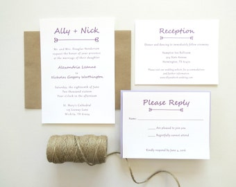 Simple Wedding Invitation Plum Purple and Kraft Brown Suite with Envelopes