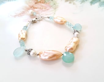 Peach Keshi Pearl and Aqua Blue Chalcedony Bracelet One of a Kind