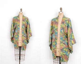 Vintage Kimono / Printed Silk Haori Jacket / Rainbow  (S M L)