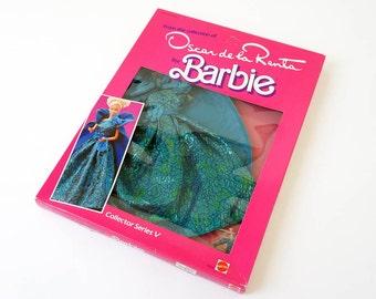 Vintage 1980s Toy Doll Clothes / 1984 Mattel Oscar de la Renta Barbie Collector Series V Dress In Box VGC / Ball Gown, Cape, Purse, Shoes