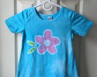 Flower Girls Dress (4T), Girls Flower Dress, Blue Girls Dress, Turquoise Girls Dress, Easter Dress, Blue Flower Girls Dress, Batik Dress