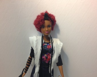 Tefillin Barbie, red Afro hair, Brown skin, & free worldwide shipping