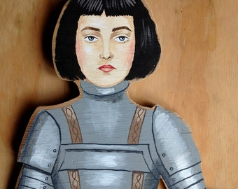 One of a kind original hand painted wooden artwork - Joan of Arc