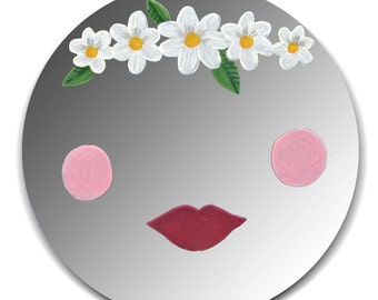 Hand painted mirror - Spring Daisy Garland with Red Lips and Cheeks
