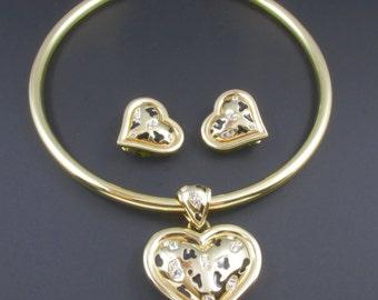 Alana Stewart Heart Necklace, Alana Stewart Heart Earrings, Alana Stewart Jewelry Set, Gold Necklace, Gold Earrings, Statement Necklace