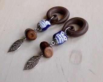 Blue Night Owl Drop Gauged Earring Plugs with  Rustic Log beads & Silver Skeleton Leaf