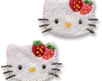Mini Hello Kitty Patch, Kawaii Sanrio Embroidered Iron On Patch, Japanese Cute Iron on Applique, Made Japan, Embroidery Applique, 2PCS, W207