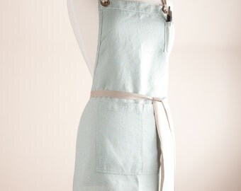 Linen Apron, Full Apron, Medium weight Natural Linen, Celadon color.