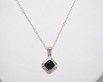 Dainty black gemstone pendant charm necklace 925 sterling silver 18 inch cable chain link onyx square design