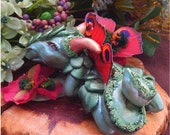 Green Flower Dragon OOAK Fairy Fairies Sculpture NEW Handmade Figurine Butterfly Wings Polymer Clay