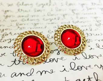 Red Gemstone Earrings, Red and Gold Wedding Earrings Studs, Vintage Red Earrings, Red Stud Earrings, Gold and Red Bridal Earrings Studs