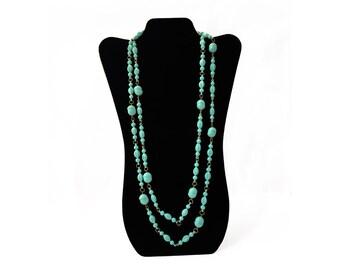 Light Blue Necklace, Boho Necklace Long, Blue Plastic Bead Necklace, Vintage Long Necklace Boho, Baby Blue Necklace, Powder Blue Necklace