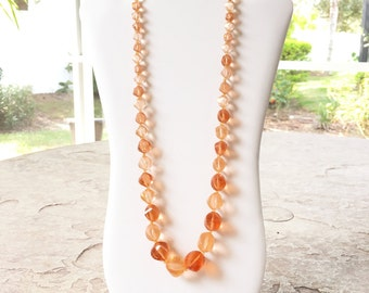 Peach Necklace, Chunky Bead Necklace, Costume Jewelry, Vintage Beaded Necklace, Chunky Necklace, Statement Necklace, Fall or Summer Necklace