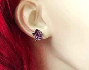 Pastel Pink Rose Earrings, Light Pink Glitter Rose Earrings, Rose Stud Earrings, Rose Flower Jewelry, Handmade Shrink Plastic Earrings