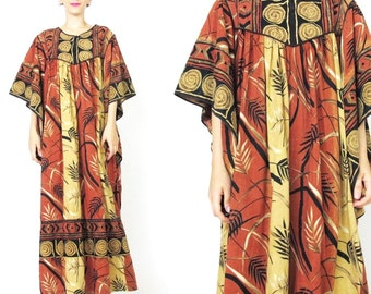 25% OFF SALE Caftan Dress Ethnic Printed Dress Indian Cotton Dress Oversize Boho Kaftan Muu Muu Maxi Dress Summer Bamboo Brown (L/Xl) E516