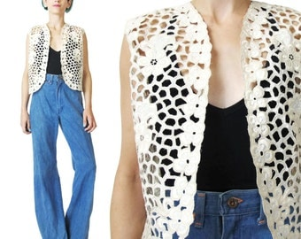 Vintage Cut Work Vest  Bali Blouse Ethnic Boho Vest Cream Eyelet Cotton Vest Sheer Cut Out Top Floral Embroidered Layering Open Vest (M)