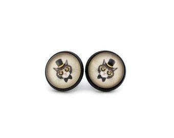 Cat Earrings, Black and Yellow, Cat in Top Hat, Tuxedo Cat Earrings, Cute Gift for a Cat Lover, Animal Earrings, Novelty Jewelry, Under 15