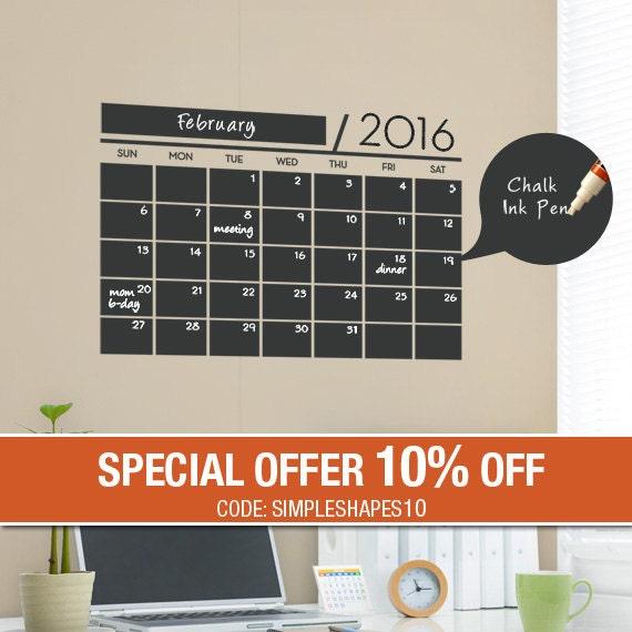 Chalkboard Wall Calendar 2016 - Vinyl Wall Decals