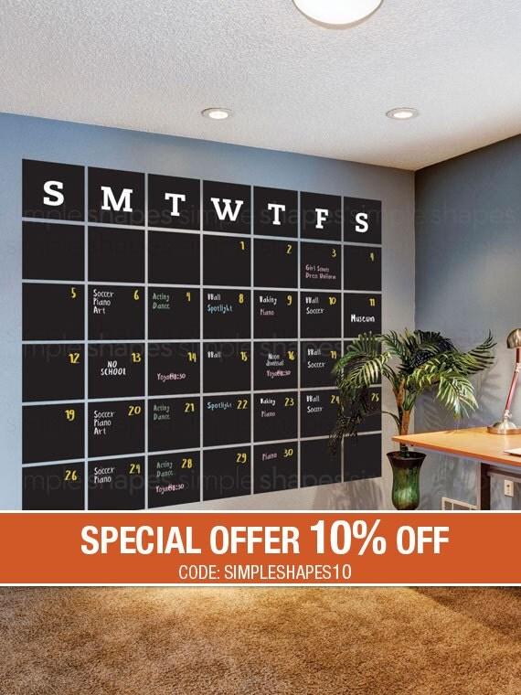 Chalkboard Calendar Wall Decal : Chalkboard wall decal calendar blackboard by