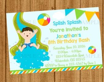Waterslide Birthday Invitation, Waterslide Party Invitation, Pool Party Birthday Invitation, Summer Birthday Invitation, Boys Birthday Party