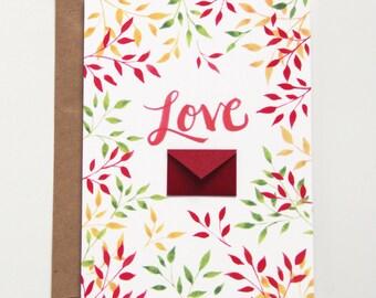 Fall Leaves Love  - Tiny Envelopes Card