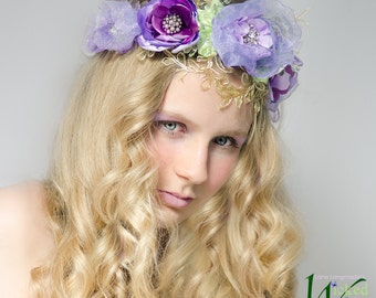 Fairy Flower Crown – Lilac Fairy Crown, Flower Fairy Crown, Flower Tiara, Purple Headdress, Floral headband for fairy costume and Weddings