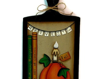 Pumpkin, Candle, Books on Bread Board, Handpainted Wood Sign, Hand Painted Fall Home Decor, Harvest Time Autumn Wall Art, Tole Painting, B3
