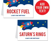 INSTANT DOWNLOAD Rocket / Outer Space Party Buffet Cards - EDITABLE Printable File