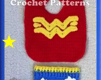 Wonder Woman Bib Ensemble Crochet Patterns PDF - INSTANT DOWNLOAD.