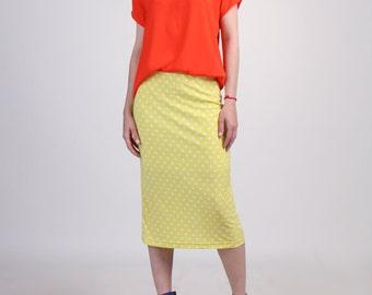 Stretch Midi Pencil Skirt / Handmade Skirt - Yellow and White Polka Dot