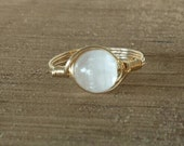 LG Selenite14k Yellow Gold Fill Wire Wrapped Stone Ring