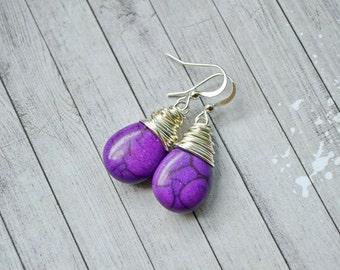 Dark Purple Faux Turquoise Earrings, Silver Wire Wrap Teardrop Dangles, Violet Purple Drops
